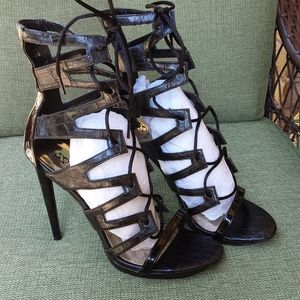 Scene faux leather Mary Sol lace up stiletto heel
